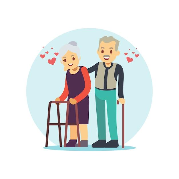 Sorrindo e feliz casal de velhos Vetor Premium