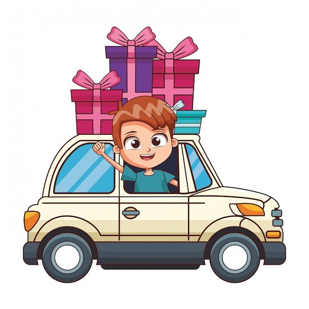 Sorrindo, menino, dirigindo, car Vetor Premium