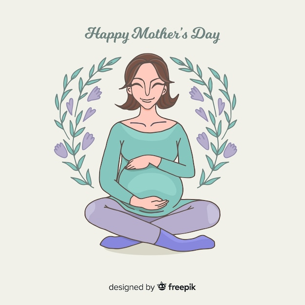 Sorrindo, mulher grávida, dia das mães, fundo Vetor Premium