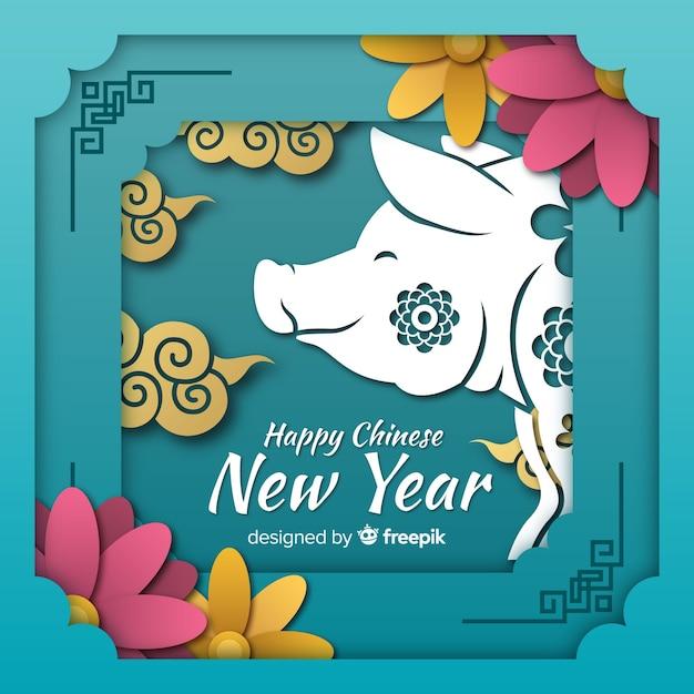 Sorrindo, porco, ano novo chinês, fundo Vetor grátis