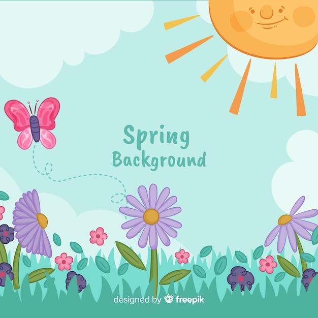 Sorrindo, sol, primavera, fundo Vetor grátis