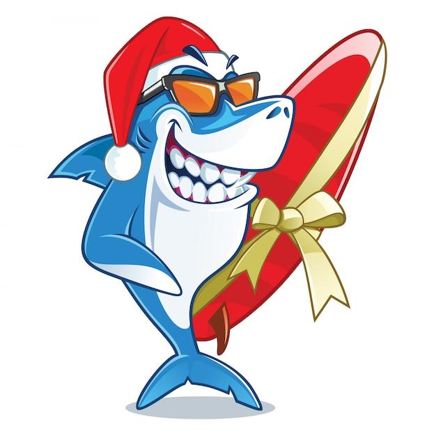Sorrindo, tubarão, com, óculos de sol, e, chapéu santa vetorial, personagem de desenho animado, segurando, envolvido, com, um, fita, prancha Vetor Premium