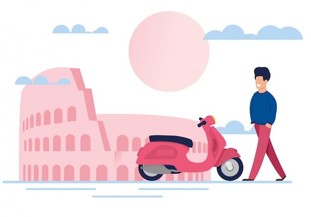 Sorrindo turista masculino e ciclomotor na rua da cidade Vetor Premium