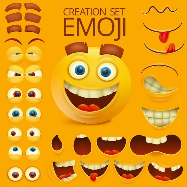Sorriso amarelo rosto personagem emoção grande conjunto Vetor Premium
