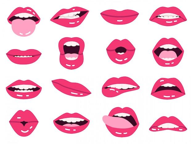 Sorriso de lábios dos desenhos animados. belos lábios cor de rosa, beijando, mostram a língua, sorrindo com a boca expressiva de dentes, conjunto de ilustração de lábios de meninas. conjunto de senhora quente lábios impudentes e rosa Vetor Premium