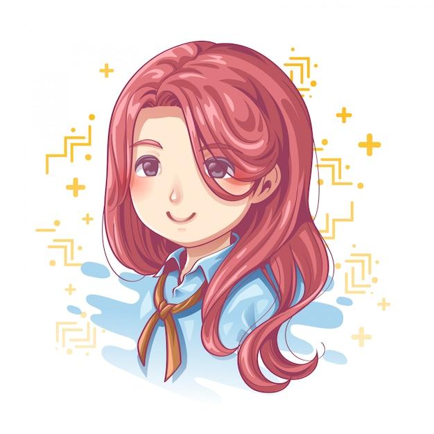 Sorriso do design de personagens femininas bonitas Vetor Premium