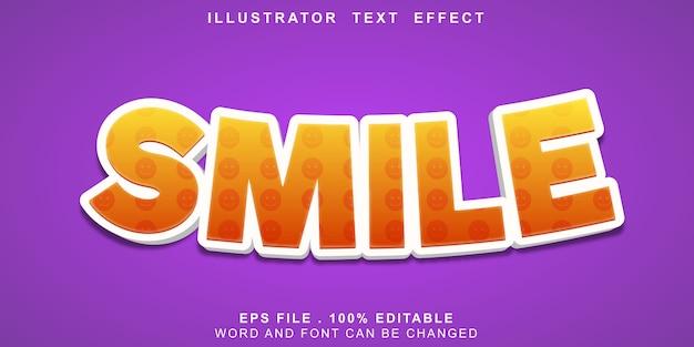 Sorriso editável de efeito de texto Vetor Premium