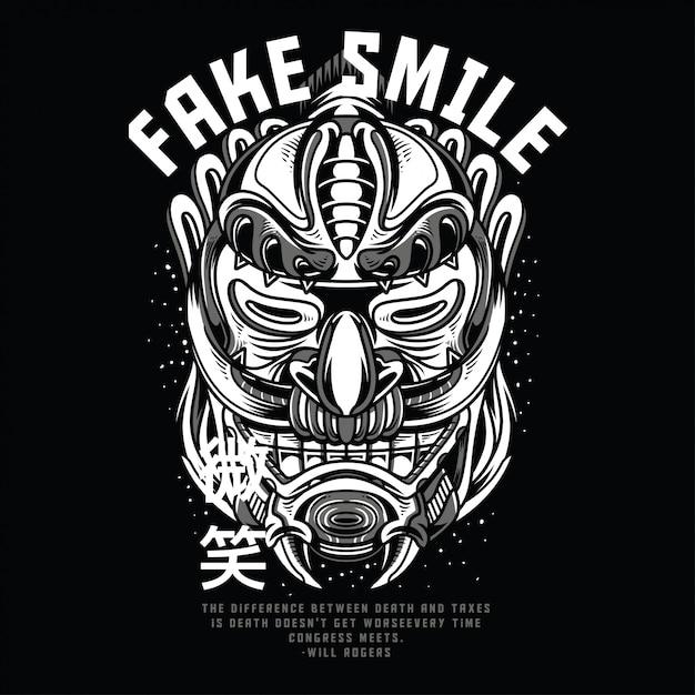 Sorriso falso preto e branco Vetor Premium