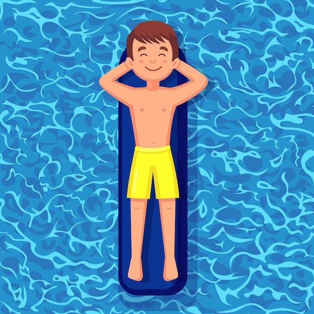Sorriso homem nada, se bronzeando no colchão de ar na piscina. personagem flutuando no brinquedo no fundo da água. círculo incapaz. férias de verão, férias, tempo de viagem. ilustração Vetor Premium