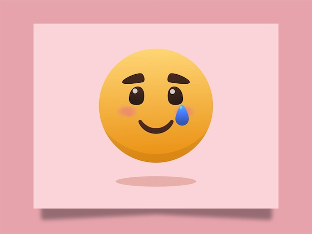Sorriso triste emoji com ilustração do ícone de lágrimas Vetor Premium