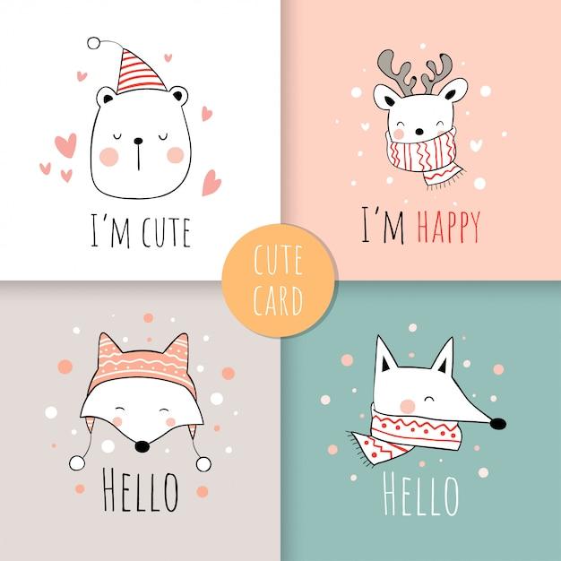 Sorteio conjunto impressão cartão de animal para o dia de natal. Vetor Premium