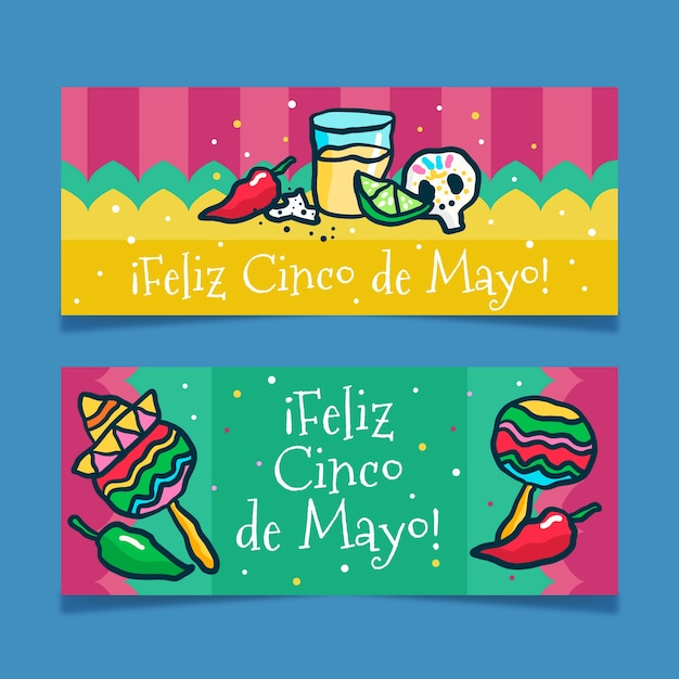 Sorteio de banners de cinco de maio Vetor grátis