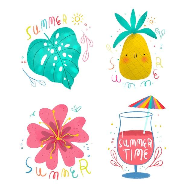 Sorteio de etiquetas de verão Vetor grátis