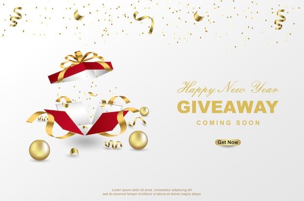 Sorteio de feliz ano novo com caixa de presente aberta em fundo branco. Vetor Premium