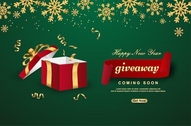 Sorteio de feliz ano novo com caixa de presente aberta sobre fundo verde. Vetor Premium