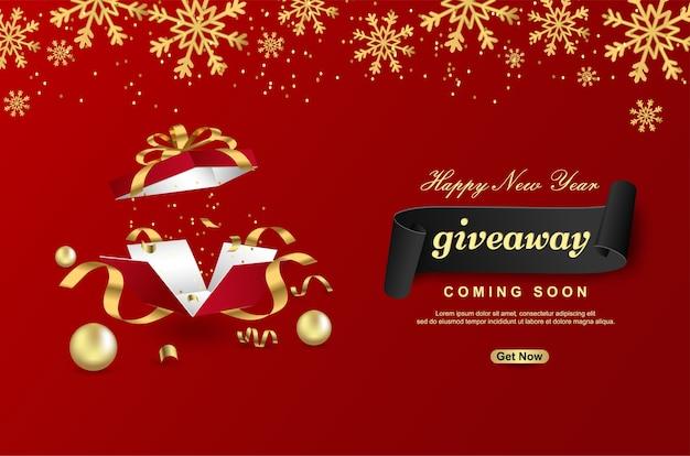 Sorteio de feliz ano novo com caixa de presente aberta sobre fundo vermelho. Vetor Premium