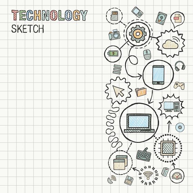 Sorteio de mão tecnologia integrar ícones definido no papel. ilustração infográfico desenho colorido. pictogramas de doodle conectado. internet, digital, mercado, mídia, computador, conceito interativo de rede Vetor Premium