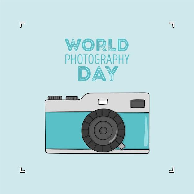 Sorteio do dia mundial da fotografia Vetor Premium