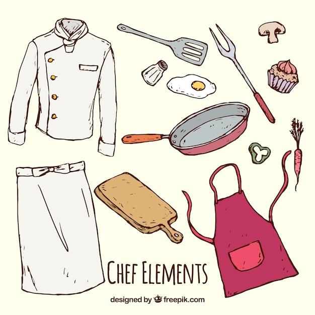 Sortido, cozinha, elementos, cozinheiro, uniforme Vetor grátis