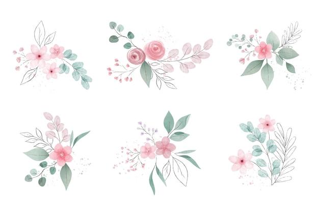 Sortimento de flores e folhas em aquarela Vetor grátis