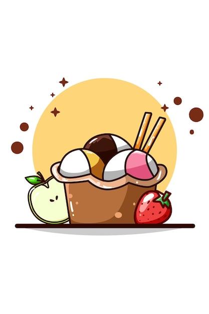 Sorvete com ilustração de morango e maçã Vetor Premium