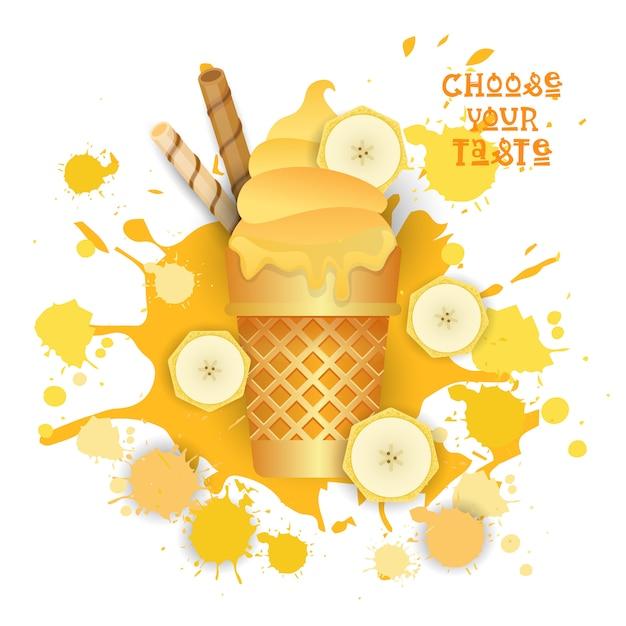 Sorvete de banana cone colorido sobremesa ícone escolha seu sabor café cartaz Vetor Premium