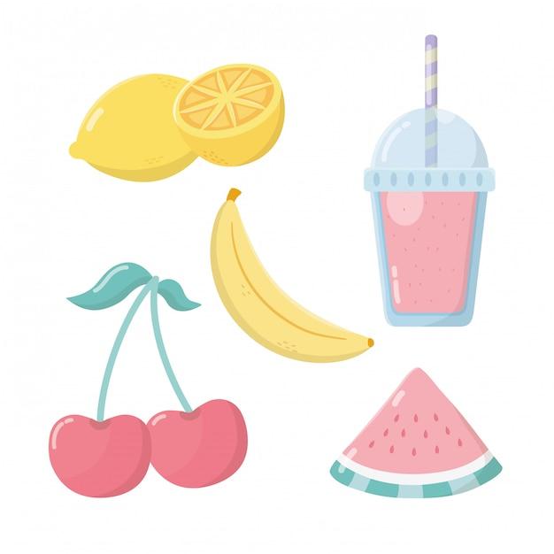 Sorvete de frutas frescas conjunto de ícones Vetor Premium