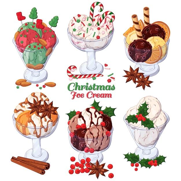 Sorvete de vetor decorado com doces de natal. Vetor Premium