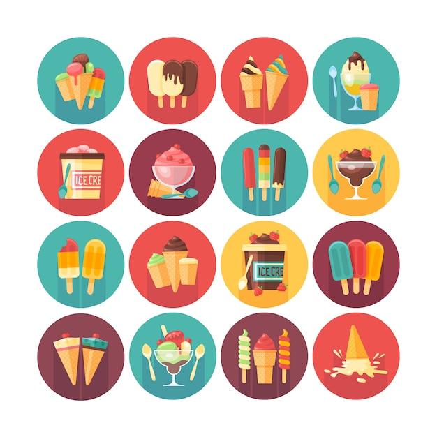 Sorvete e coleção de ícone de sobremesas e doces congelados. ícones do círculo plana vetor definido com sombra longa. comidas e bebidas. Vetor Premium