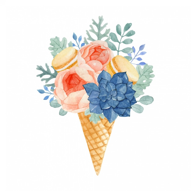 Sorvete floral aquarela com macaroons, rose, dusty miller, eucalyptus e succulent Vetor Premium