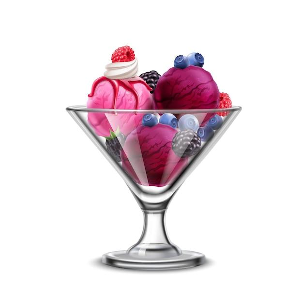 Sorvete na composição realista de tigela de vidro com frutas frescas e bolas violetas de sorvete Vetor grátis
