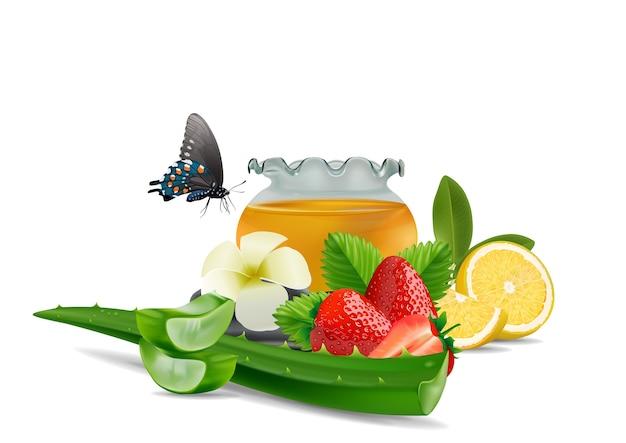 Spa aloe vera limão morango fundo Vetor Premium