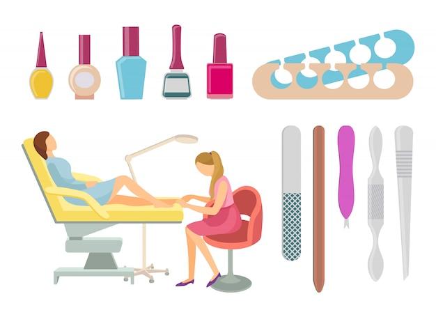Spa salon pedicure procedimentos icons set vector Vetor Premium