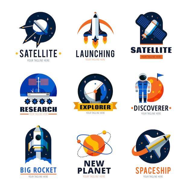 Space logo emblems set Vetor grátis