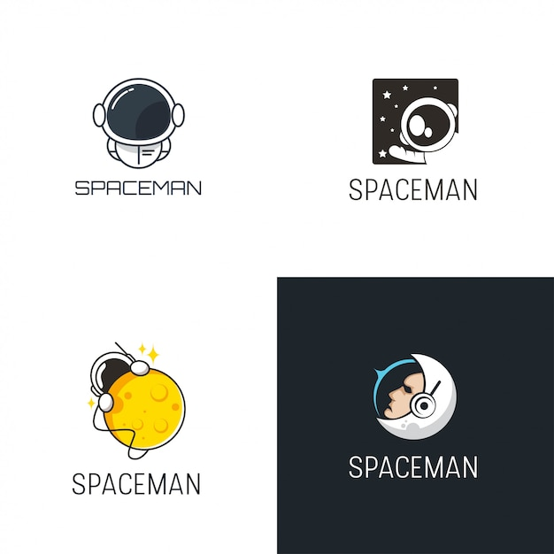 Spaceman logo design Vetor Premium