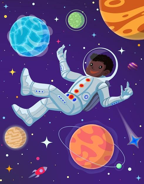 Spaceman no espaço aberto. Vetor Premium