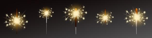 Sparklers set, flares realistas com chamas Vetor grátis