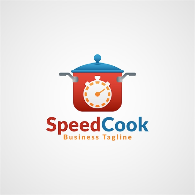 Speed cook - logotipo profissional do restaurante fast food Vetor Premium
