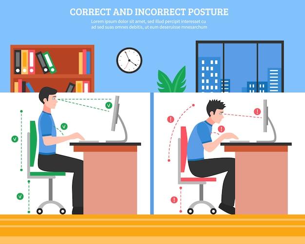 Spine sitting postures illustration Vetor grátis