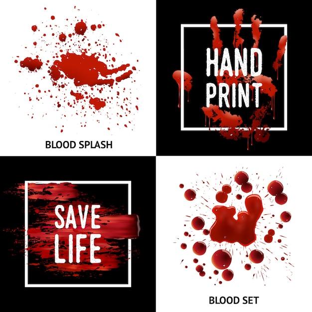 Splatters de sangue 4 ícones quadrados conceito Vetor grátis