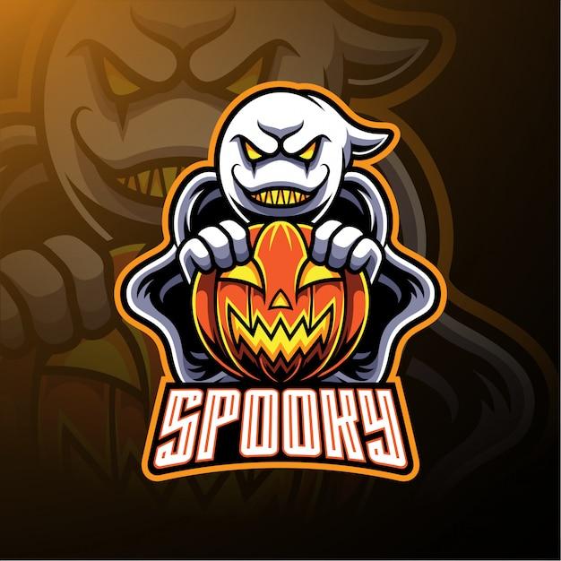 Spooky ghost e mascote de logotipo de abóbora Vetor Premium