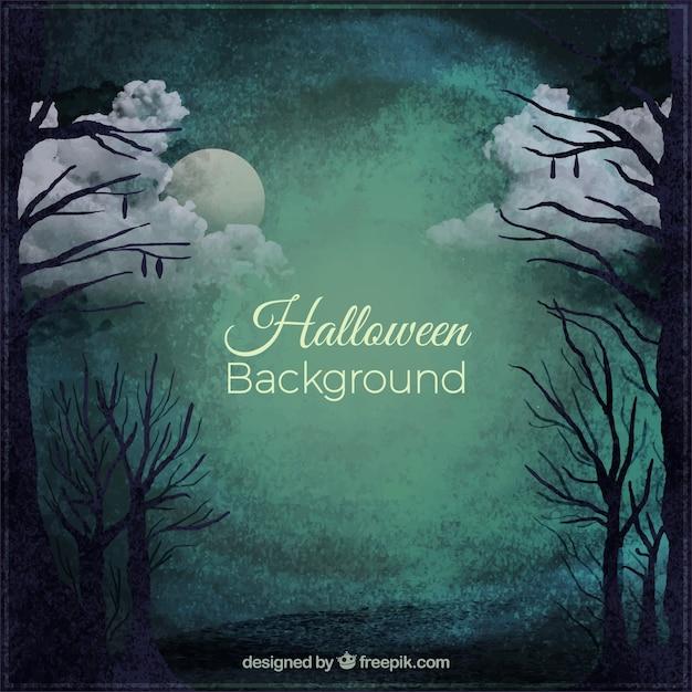 Spooky halloween fundo de uma floresta ainda de noite Vetor grátis