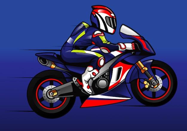 Sportbike racer Vetor Premium