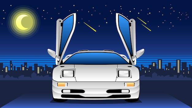 Sportcar clássico com horizonte noturno Vetor Premium