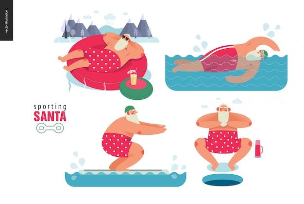 Sporting santa fazendo atividade de água no inverno Vetor Premium