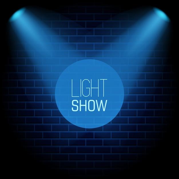 Spotlight mostrar fundo azul Vetor Premium