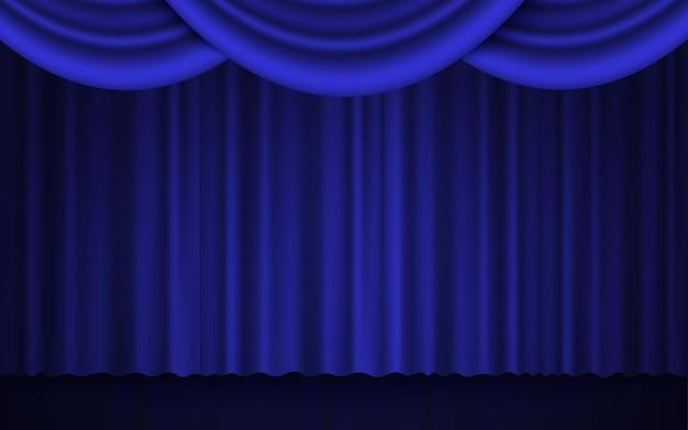 Spotlight no palco do teatro ou cortina fechada do cinema Vetor Premium