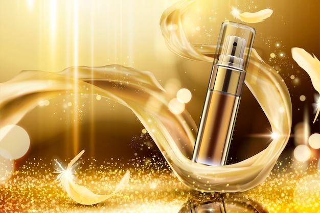 Spray de cuidado de pele dourado com cetim trançado e penas em fundo cintilante Vetor Premium