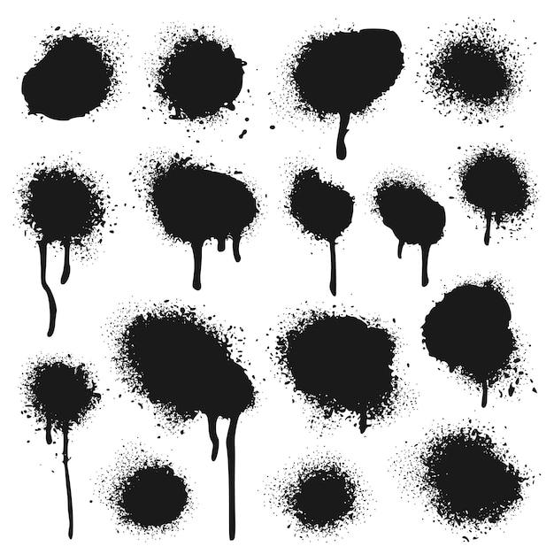 Spray de textura pintada. conjunto de pontos de respingos de tinta, pingos de graffiti e tintas pulverizadas Vetor Premium
