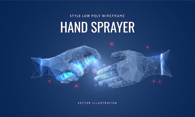 Spray desinfetante para as mãos. conceito de desinfecção, prevenção de vírus. Vetor Premium